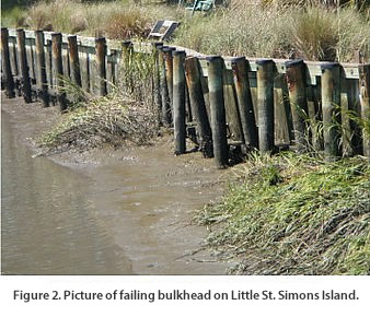 Figure 2. Picture of failing bulkhead on Little St. Simons Island.